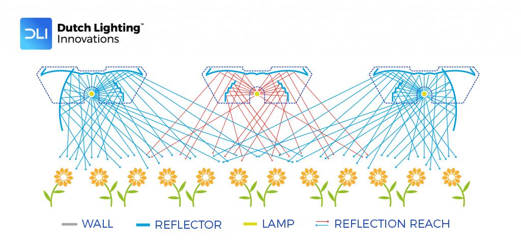 asymmetric spread from DLI reflector